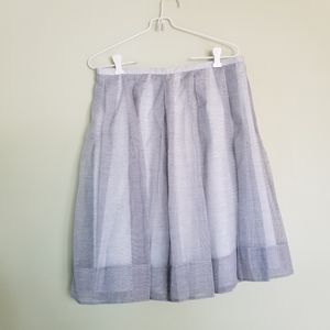 Talbots pleated striped lined midi skirt 12